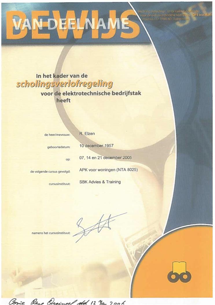certificaat Cursus APK Voor Woningen