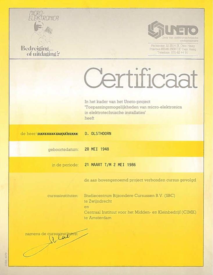 certificaat Cursus Micro Elektronica