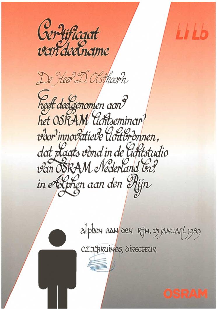 certificaat OSRAM Nederland