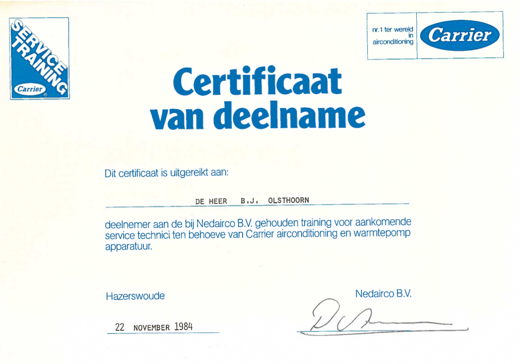certificaat Carrier Service Training Carrier