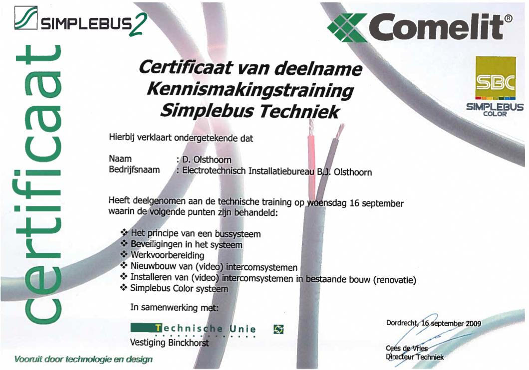 certificaat Simplebus Techniek
